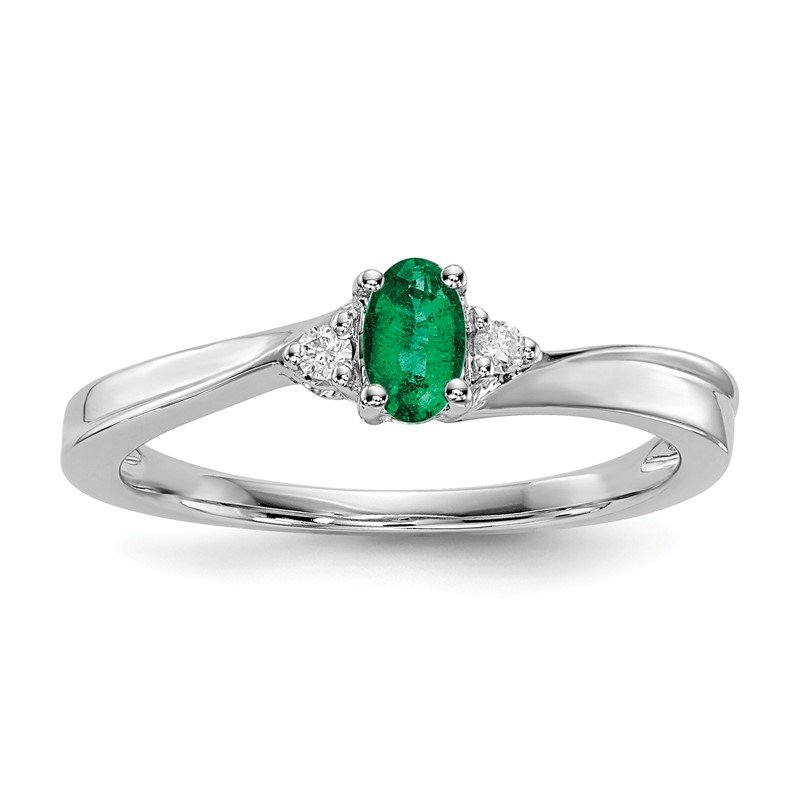 Quality Gold Sterling Silver Rhodium-plated Created Emerald Birthstone Ring