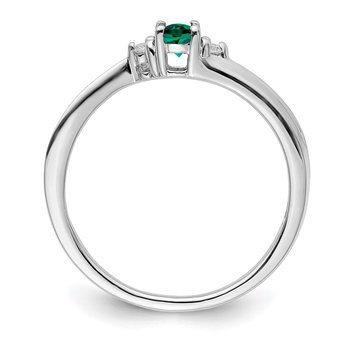 Sterling Silver Rhodium-plated Created Emerald Birthstone Ring