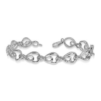 925 SS Diamond Large and Small Infinity Link Bracelet in Prong Setting