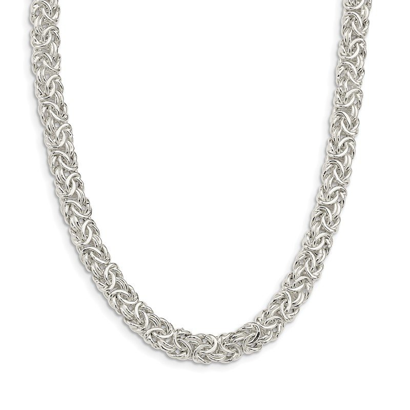 Quality Gold Sterling Silver Polished Byzantine Link Necklace