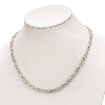 Sterling Silver Polished Byzantine Link Necklace