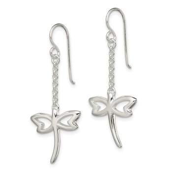 Sterling Silver Polished Dragonfly Dangle Shepherd Hook Earrings