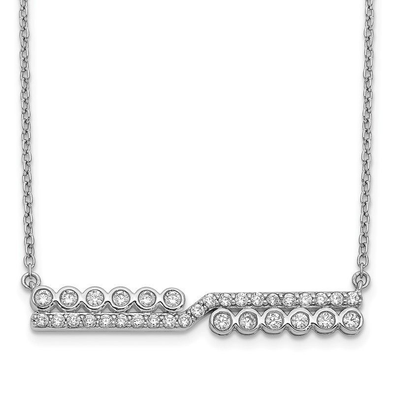 Quality Gold 14k White Gold Diamond Bar Necklace