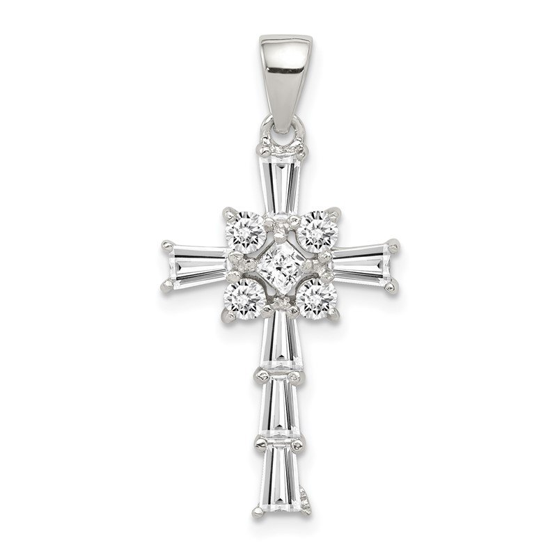 Lester Martin Online Collection Sterling Silver Rhodium Plated CZ Latin Cross Pendant