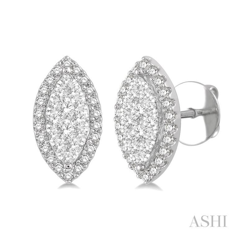 ASHI marquise shape lovebright diamond earrings