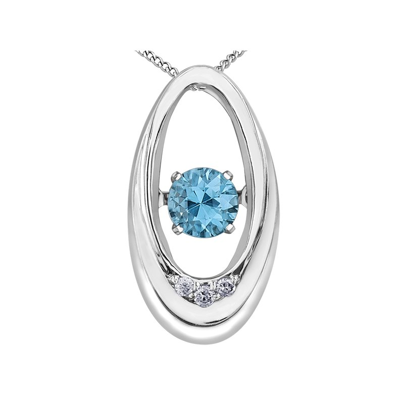 Diamond Wishes Blue Topaz Pendant