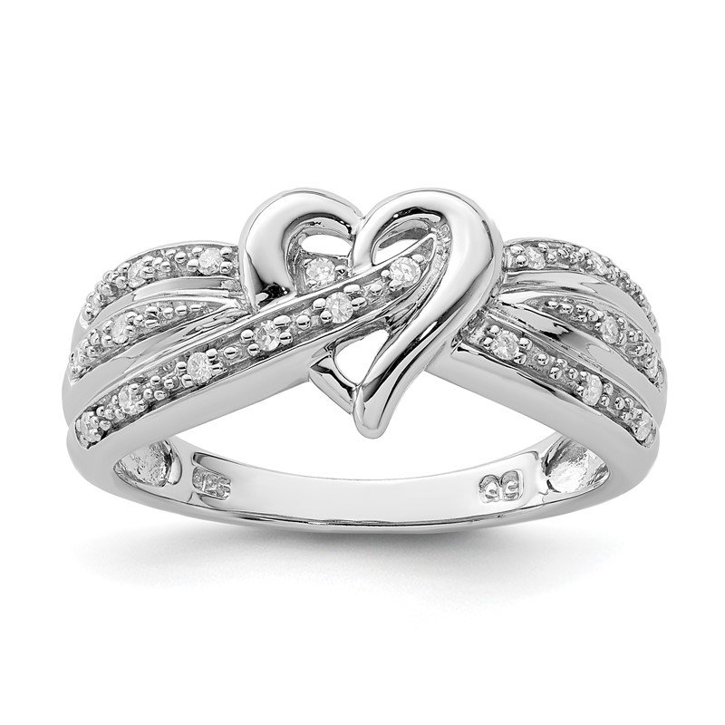 Quality Gold Sterling Silver Rhodium Plated Diamond Heart Ring