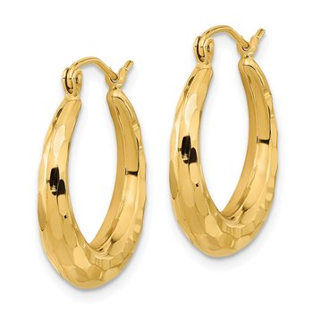 14k Polished & D/C Hoop Earrings