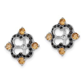 Sterling Silver Rhodium Citrine & Black Sapphire Earring Jacket