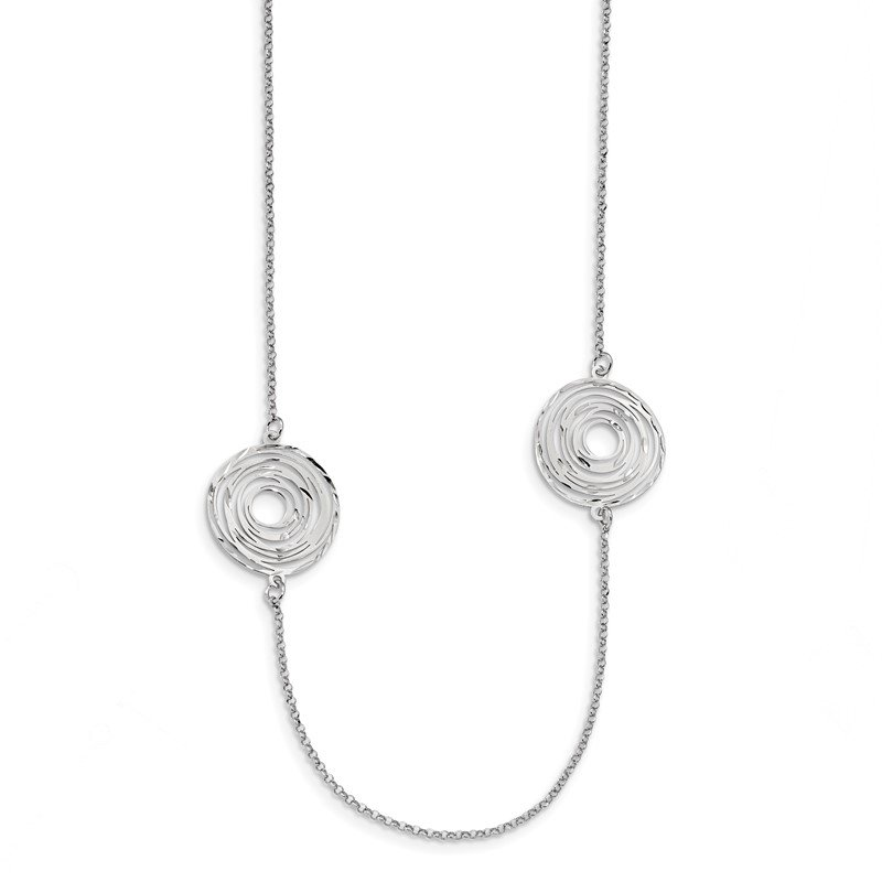 Quality Gold Sterling Silver Rhodium Plated Diamond Cut Circles 36 IN Necklace