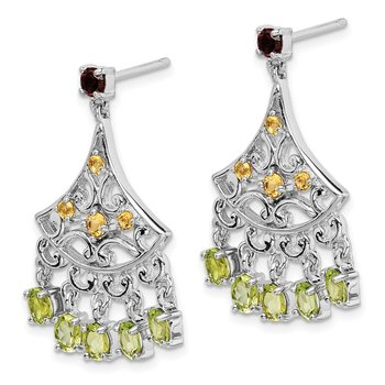 Sterling Silver Rhodium-plated Garnet, Citrine & Peridot Dangle Earrings