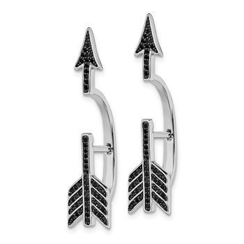 Sterling Silver Rhodium-plated CZ Arrow Hinged Post Earrings