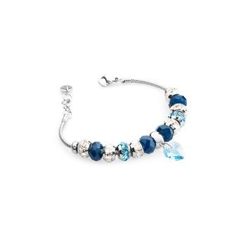316L stainless steel, blue agate, white and aquamarine Swarovski® Elements crystals.
