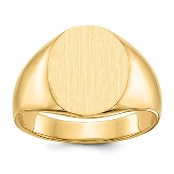 14k 14.5x12.0mm Closed Back Men's Signet Ring