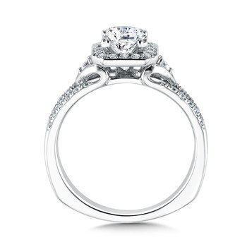 Geometric shape halo mounting  .31 ct. tw.,  1 ct. Asscher cut center.