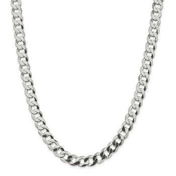 Sterling Silver 9.75mm Flat Curb Chain