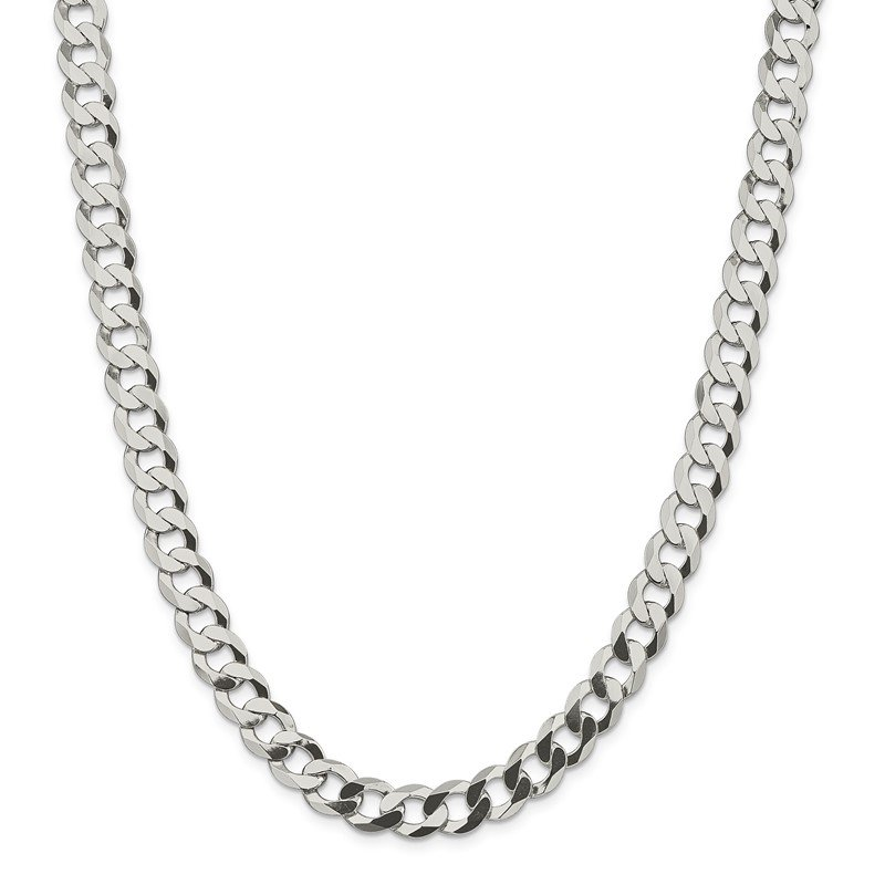 Quality Gold Sterling Silver 9.75mm Flat Curb Chain