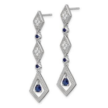 Sterling Silver Dark Blue CZ Dangle Post Earrings