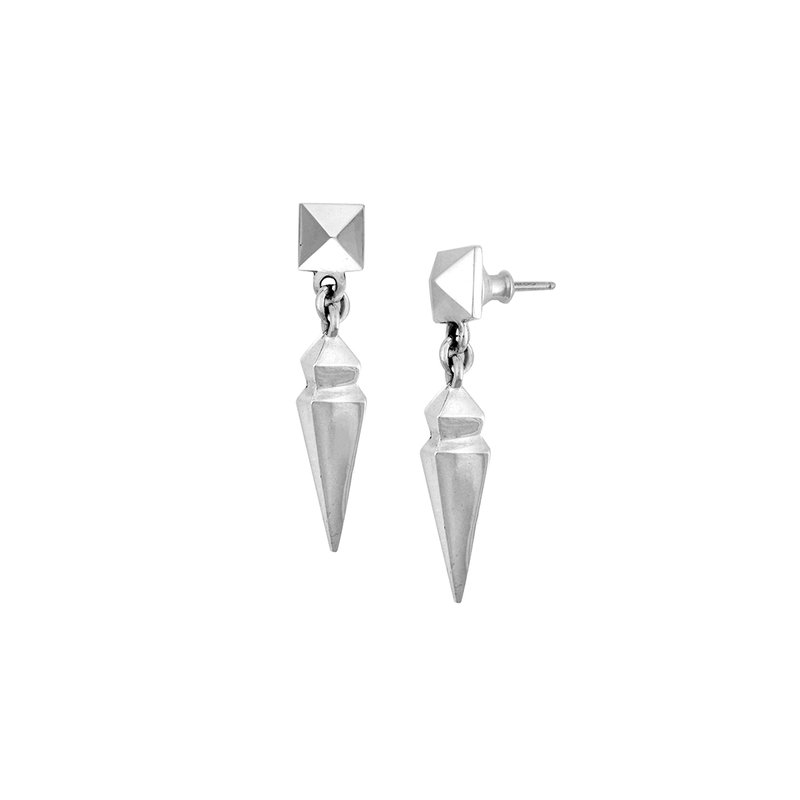 King Baby Pyramid Earrings With Geometric Spike Drop