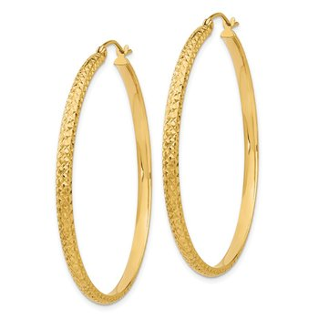 14K Diamond-cut 2.8x46mm Hollow Hoop Earrings