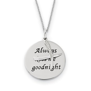 Sterling Silver Antiqued CZ Always Kiss Me Goodnight 18in Necklace
