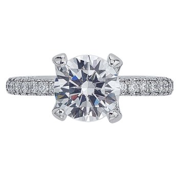 Three-Sided Pave Diamond Engagement Ring