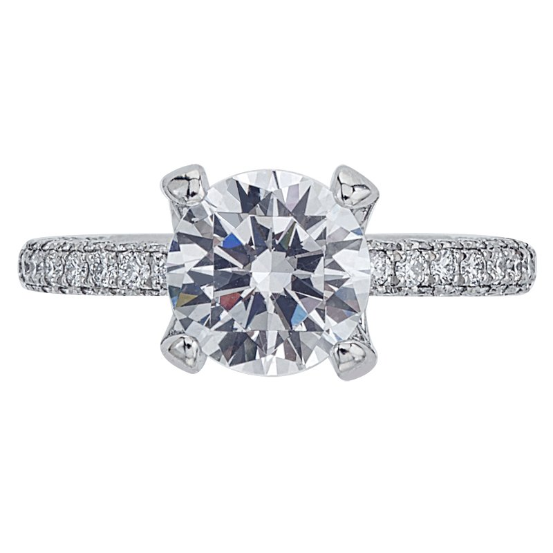 Mark Patterson Three-Sided Pave Diamond Engagement Ring