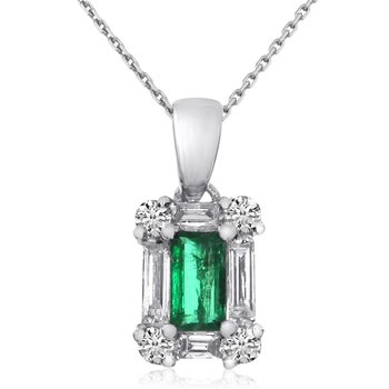14k White Gold Baguette Diamond and Emerald Pendant