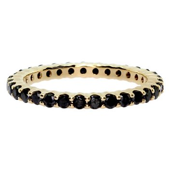 Black Diamond Yellow Gold Stackable Ring