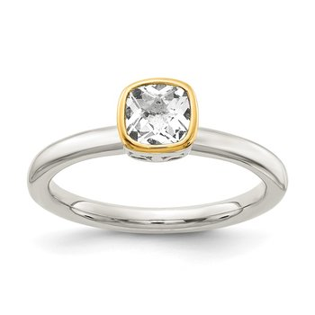 Sterling Silver w/ 14K Accent White Topaz Ring