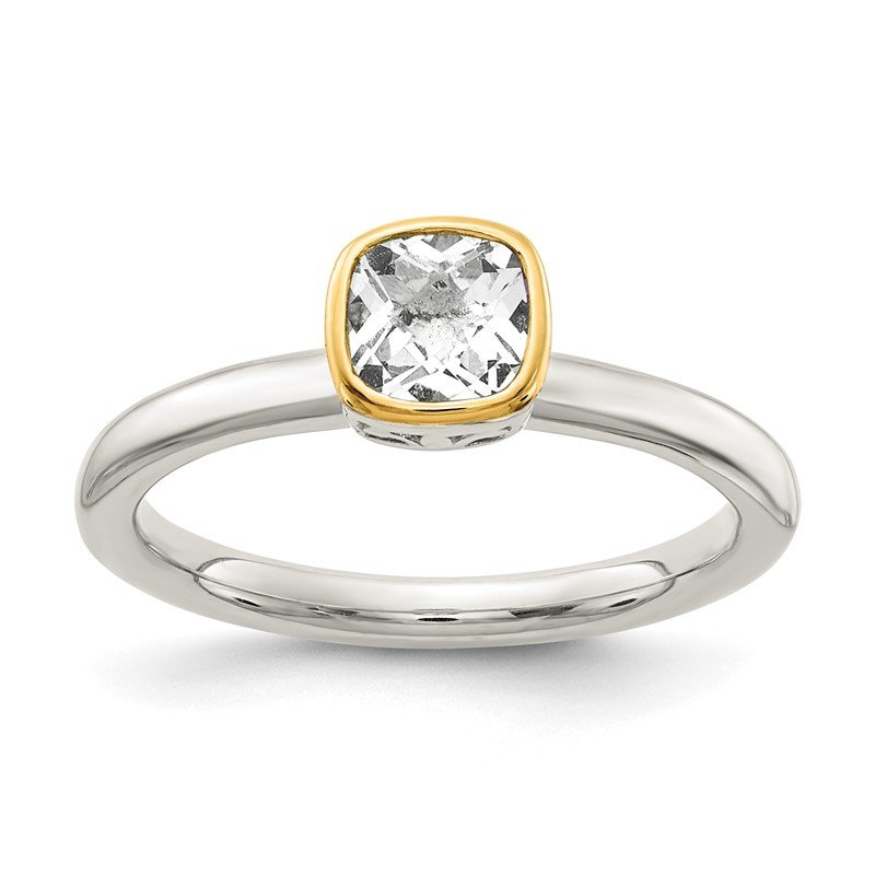 Quality Gold Sterling Silver w/ 14K Accent White Topaz Ring