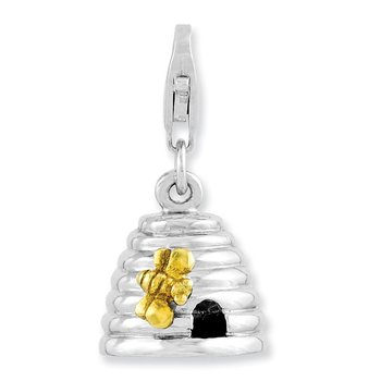 Sterling Silver Rhodium-plated & Gold Plated 3-D Beehive w/Lobster Clasp Ch