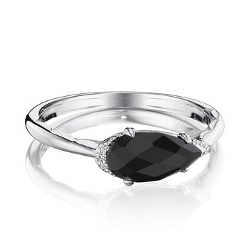 Solitaire Pear-Shaped Ring with Black Onyx
