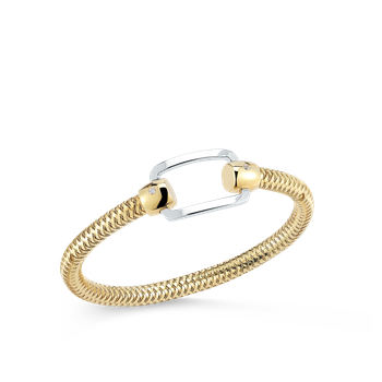 18Kt Gold Flexible Bangle With Rectangle Station And Diamonds