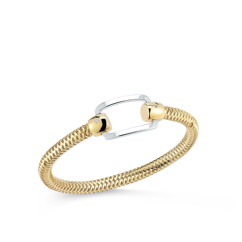 Roberto Coin 18Kt Gold Flexible Bangle With Rectangle Station And Diamonds