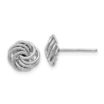 Leslie's 10K White Gold Polished and Texured Post Earrings