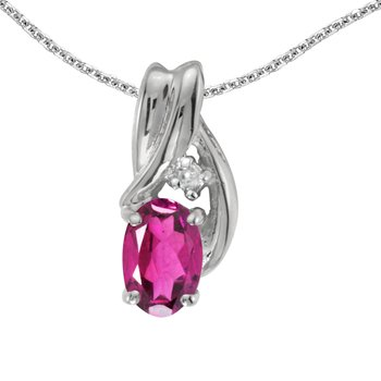 10k White Gold Oval Pink Topaz And Diamond Pendant