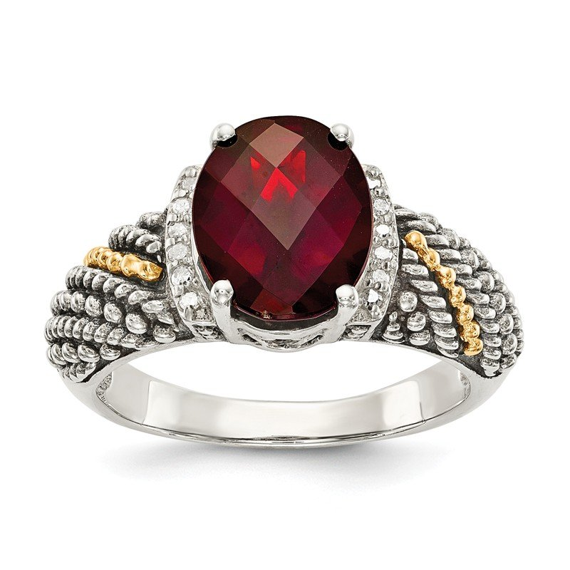 Shey Couture Sterling Silver w/14k Garnet & Diamond Ring