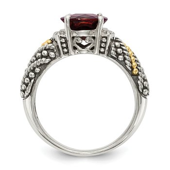 Sterling Silver w/14k Garnet & Diamond Ring