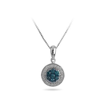 10K WG Blue and White Diamond Pendant with Cluster Center and Round Halo