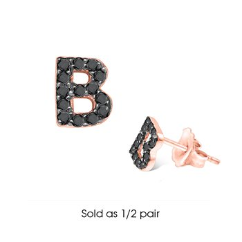 "Black Diamond Single Initial ""B"" Stud Earring (1/2 pair)"