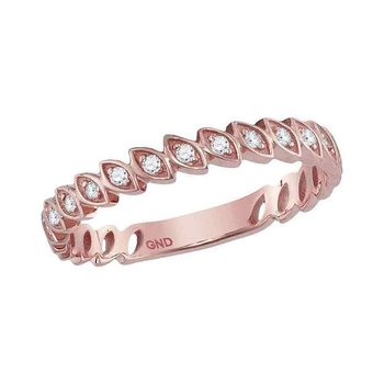 14kt Rose Gold Womens Round Diamond Ovals Stackable Band Ring 1/10 Cttw