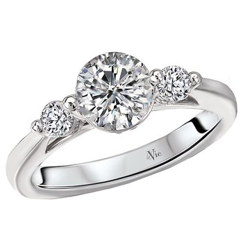3-Stone Semi-Mount Diamond Ring