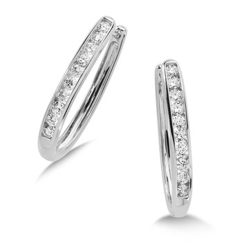 Channel set Diamond Oval Hoops in 14k White Gold (3/4 ct. tw.) GH/SI1-SI2