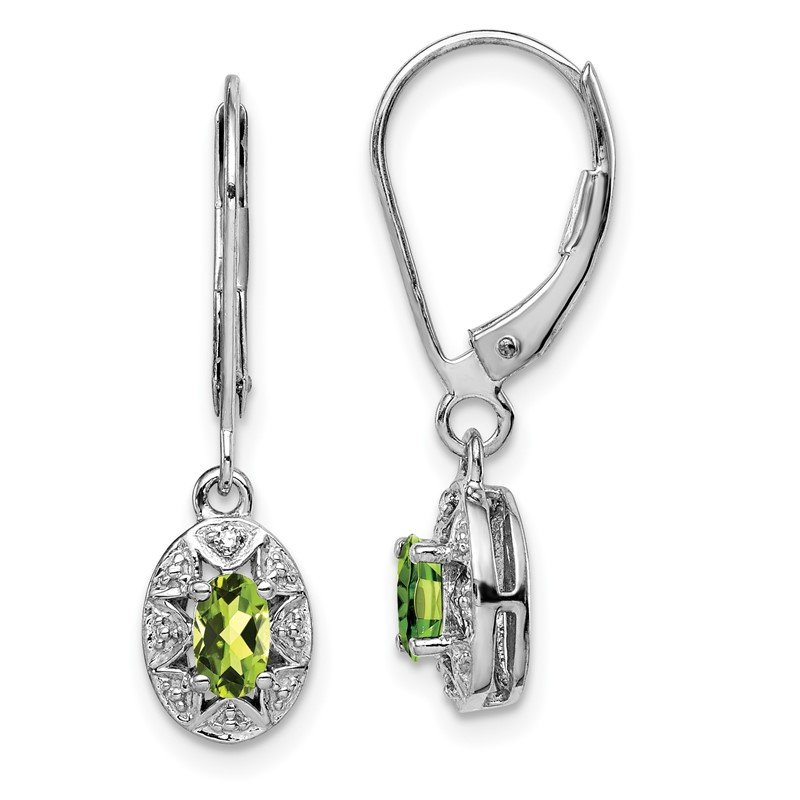 Quality Gold Sterling Silver Rhodium-plated Diam. & Peridot Earrings