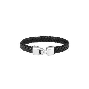 Small Braided Leather Bracelet With A Hook Clasp