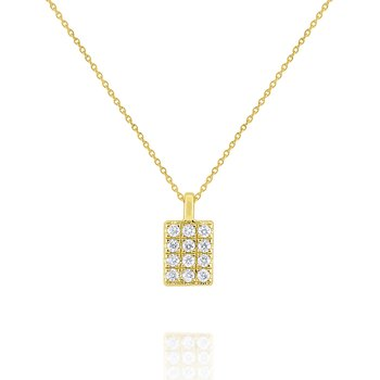 Simple Geometric Gold and Diamond Necklace