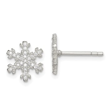 Sterling Silver CZ Snowflake Post Earrings
