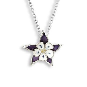 Purple Columbine Necklace.Sterling Silver