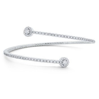 Round Diamond Bypass Bangle Set in 14 Kt. Gold